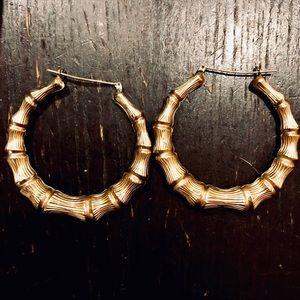 14k Gold Bamboo Earrings